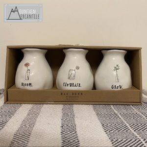 NEW Rae Dunn-BLOOM/FLOURISH/GROW Bud Vases